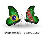 two butterflies with flags on... | Shutterstock . vector #163923659