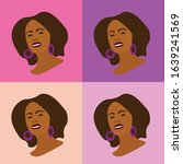minimal vector portrait african ... | Shutterstock .eps vector #1639241569