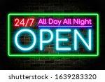 neon banner open 24 7 ...   Shutterstock . vector #1639283320
