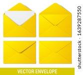 yellow vector envelopes. set of ... | Shutterstock .eps vector #1639287550