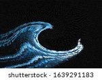 Digital Tsunami Wave On Black...