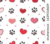 black doodle paw print with... | Shutterstock .eps vector #1639318609