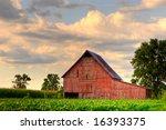 Old  Red Barn In Corn Field