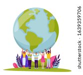 diversity people holding earth... | Shutterstock .eps vector #1639359706