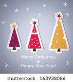 new year trees for your card.... | Shutterstock .eps vector #163938086
