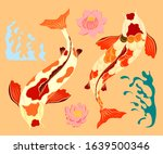 koi fish carp with lotus flower ...   Shutterstock .eps vector #1639500346