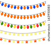 set of christmas garlands of... | Shutterstock .eps vector #163950083