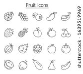 fruit icon set in thin line... | Shutterstock .eps vector #1639519969
