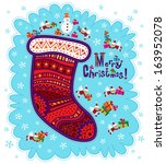 Sock with ornaments with congratulations on Christmas with gifts and flying Santa. White and blue snowflakes on background. - stock vector