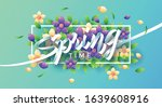 springtime with flowers and... | Shutterstock .eps vector #1639608916