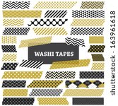 gold  black and white washi... | Shutterstock .eps vector #163961618