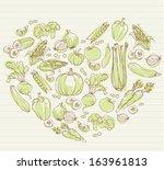 vegetables arranged in heart... | Shutterstock .eps vector #163961813