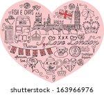 i love london   icons in heart...   Shutterstock .eps vector #163966976