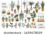 Houseplants Flowerpots Isolated ...