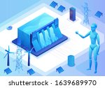 hydroelectric power plant...   Shutterstock .eps vector #1639689970
