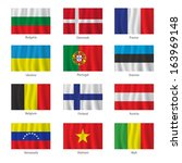 set of flags with titles on the ... | Shutterstock . vector #163969148
