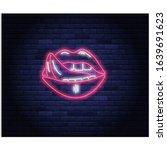 beautiful female pink lips neon ...   Shutterstock .eps vector #1639691623