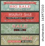 vintage christmas banners with... | Shutterstock .eps vector #163972310