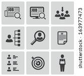 vector black job search icons...   Shutterstock .eps vector #163977473