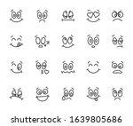 vector set of cartoon faces... | Shutterstock .eps vector #1639805686