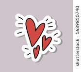 hand drawn love doodle with red ...   Shutterstock .eps vector #1639850740