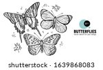 butterflies. set of hand... | Shutterstock .eps vector #1639868083
