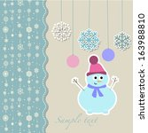 christmas snowman with... | Shutterstock .eps vector #163988810