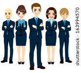 team of five successful and... | Shutterstock . vector #163994570