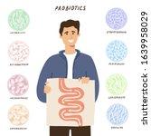 probiotics concept. man showing ...   Shutterstock .eps vector #1639958029