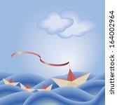 origami paper ship leading... | Shutterstock .eps vector #164002964