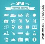 travel flat icon set with lable....