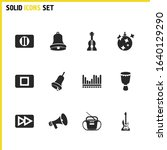 melody icons set with hand bell ...
