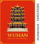 yellow crane tower in wuhan.... | Shutterstock .eps vector #1640145283