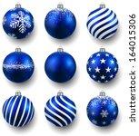 Blue Christmas Balls On White...