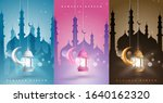 set of colorful ramadan kareem... | Shutterstock .eps vector #1640162320