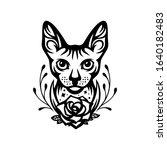 sphinx cat head portrait tattoo ... | Shutterstock .eps vector #1640182483