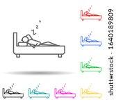 sleep outline multi color style ...