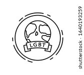 earth  lgbt icon. simple line ...