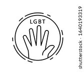 hand  lgbt icon. simple line ...