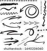 set of hand drawn arrows and... | Shutterstock .eps vector #1640206060