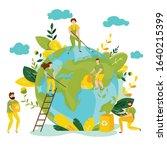 vector ecology concept. people... | Shutterstock .eps vector #1640215399