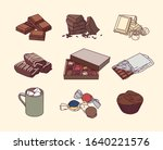 various kind of chocolate food. ...   Shutterstock .eps vector #1640221576