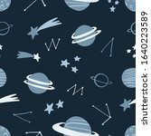 space hand drawn seamless... | Shutterstock .eps vector #1640223589