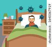 man suffering from flu in bed... | Shutterstock .eps vector #1640367919