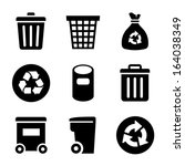 garbage icons set | Shutterstock .eps vector #164038349