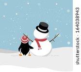 snowman with penguin. snowman... | Shutterstock .eps vector #164038943