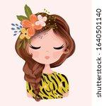 pretty girl portrait with... | Shutterstock .eps vector #1640501140
