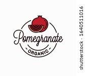 pomegranate fruit logo. round...   Shutterstock .eps vector #1640511016