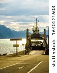 Small photo of EIDSDAL, NORWAY - JULY 28, 2018: Car ferry connection Eidsdal - Linge, Norddal Municipality in More og Romsdal county. Norwegian County Road 63