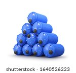 plastic barrels folded in a... | Shutterstock . vector #1640526223